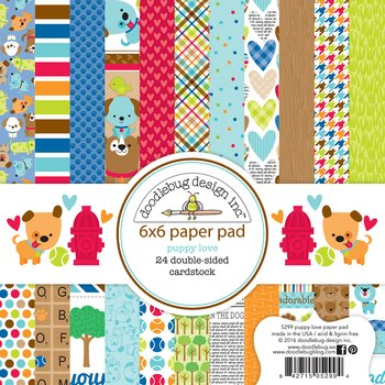 "Doodlebug- Double-Sided Paper Pad 6""X6""   -Puppy Love"