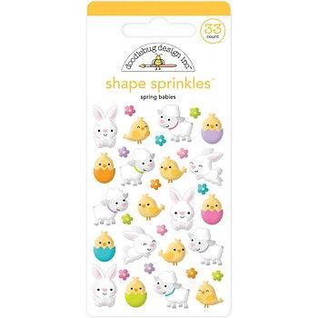 Doodlebug Sprinkles Adhesive Glossy Enamel Shapes-Spring Babies