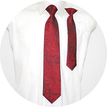 Far och son slipsar Paisley Röd