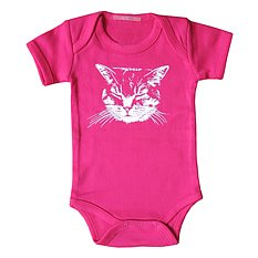Little Lark Body kort ärm Happy Cat Rosa