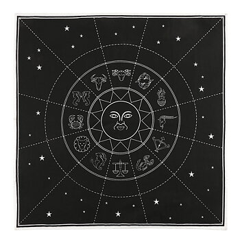 Altar & Tarot Cloth - Black with White Zodiac Sun, 70x70cm