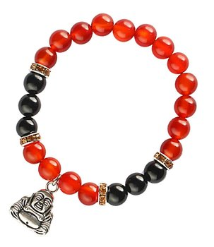 Gemstone Power Bracelet - Carnelian n' Black Onyx with Buddha