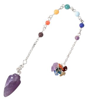 Gemstone Pendulum - Amethyst with Chakra Beads n' Organza Bag