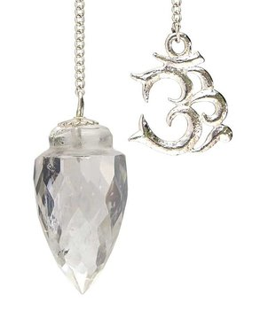 Gemstone Pendulum - Faceted Clear Quartz with AUM n' Organza Bag