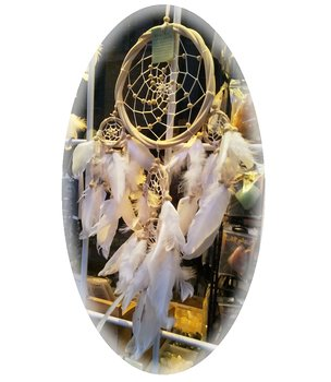 Dreamcatcher Multi 5 Wooden - White Feathers 16cm