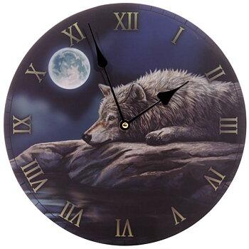 Väggklocka - Varg i månsken