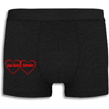 Boxershorts med eget namn, Hjärtan med röd text