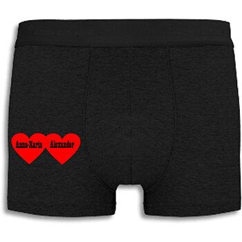 Boxershorts med eget namn, Hjärtan med svart text