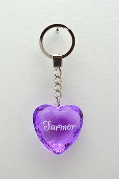 Nyckelring, Diamond heart - Farmor
