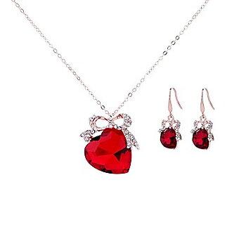 Smyckeset - Hjärta, Örhängen och halsband, Röd