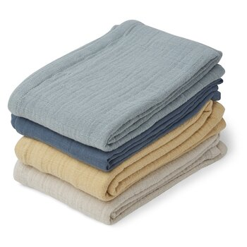 Liewood - muslin cloth 4 pack, blue mix