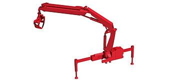 Hiab X-HIPRO 232-E3 kran med pallgaffel, röd