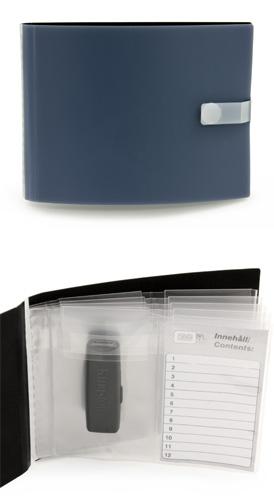 Omslag USB i 0,70 grå/svart mjuk pp, 5st 2-facks USB-fickor, funkar även till visitkort, minneskort