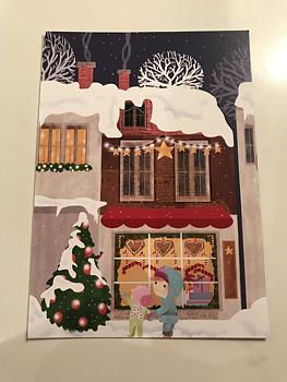 Julkort - Oliver och Emma tittar på julskyltning, 5 pack