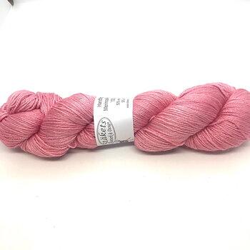 Handfärgat Merinosilke 400  Rosa