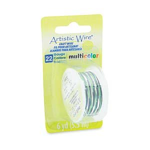 Artistic Wire 22 Ga - Multicolor Silver/Black/Green, 1 rulle