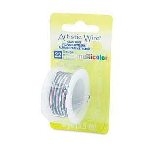 Artistic Wire 22 Ga - Multicolor Pink/Black/Green, 1 rulle