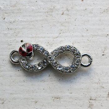 Connector infinity - Strass med nyckelpiga, 1 styck