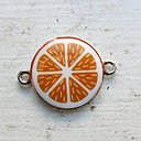 Connector Silverfärgad - Emaljerad Apelsin 1 styck