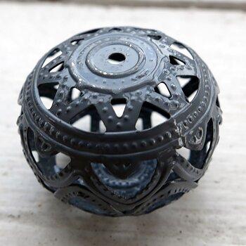 Filigree boll - Grå 26x19mm 1 styck