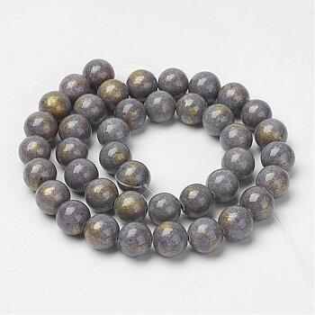 Jade rund  - Grå med guldstoff  6mm, 1 sträng