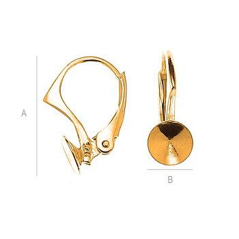 Öronkrokar 925 Silver 24K Gold - Brisyr med fäste för Chaton 8mm