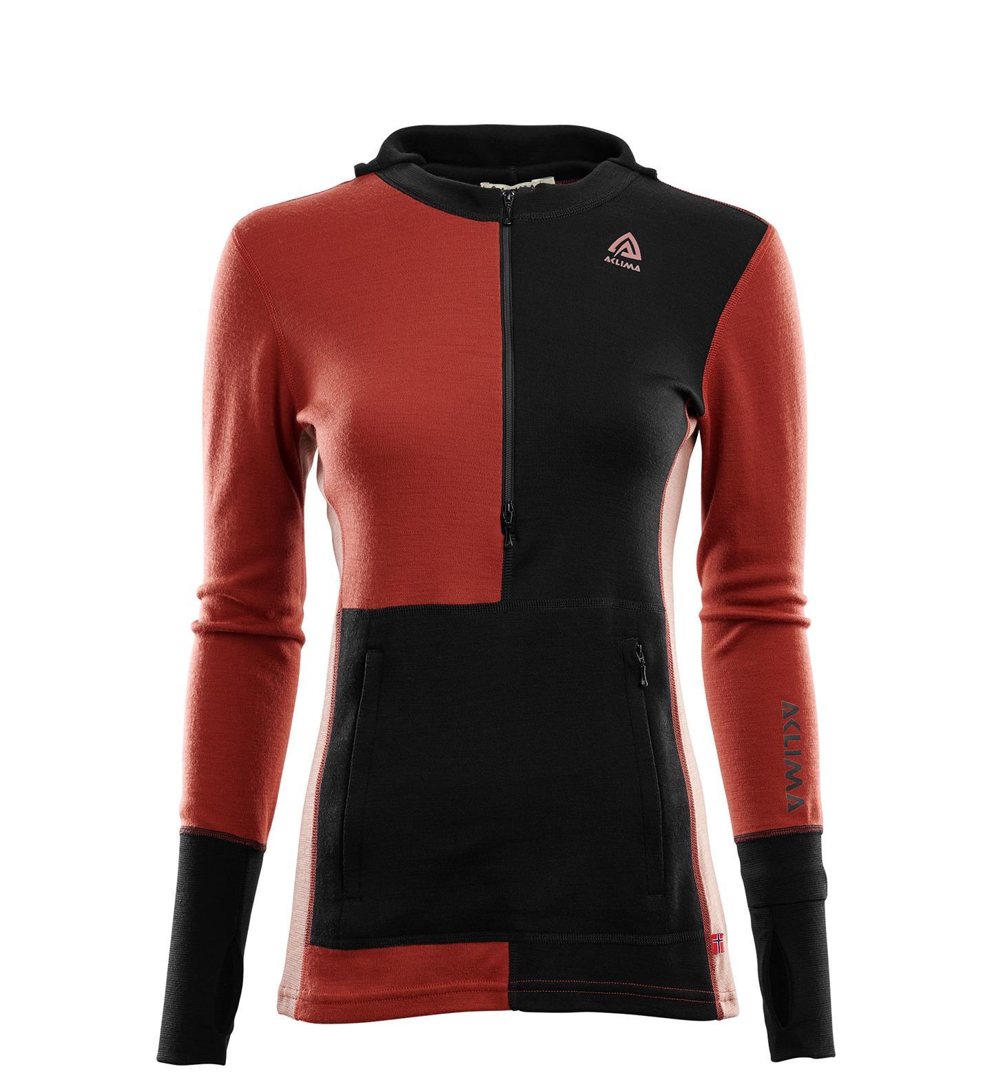 Aclima Warmwool Hooded Sweater w/zip Dam Jet Black / Red Ochre / Cognac