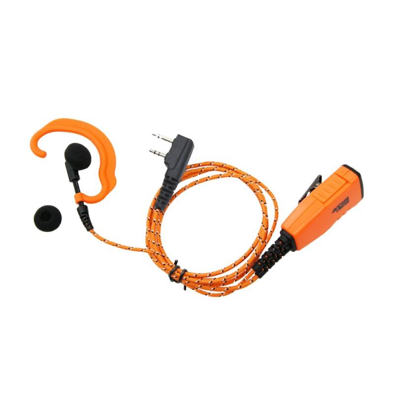 ProEquip PRO-P610L Headset med tygkablar orange robust mik/PTT och C-Mussla