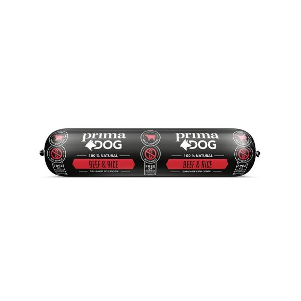 Prima Dog Köttkorv Nöt & Ris 800 g