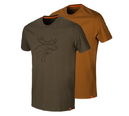 Härkila T-Shirt Graphic 2-pack Willow Green/ Rustique Clay