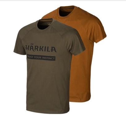 Härkila T-Shirt Logo 2-pack Willow Green/Rustique Clay