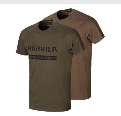 Härkila T-Shirt Logo 2-pack Willow Green/Slate/Brown