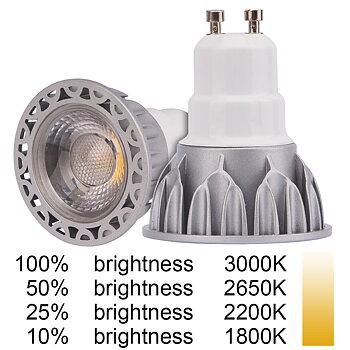 GU10 5W (70W) Dim to Warm 3000K-1800K