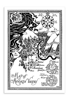 Moomin mini poster - Map of Moominvalley, English