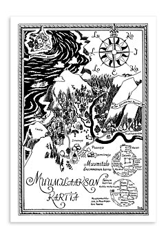 Moomin mini poster - Map of Moominvalley, Finnish