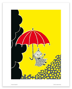 Mumin mini poster - Lilla My med paraply