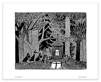 Moomin mini poster - Sneaking at night