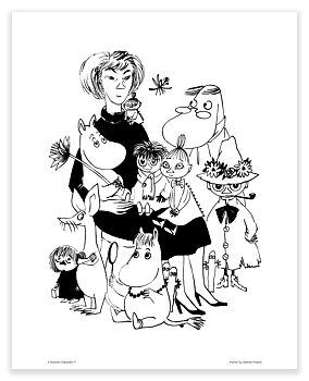 Moomin mini poster - Tove with characters
