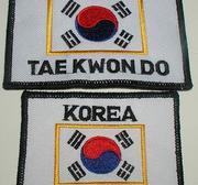 Broderat Märke Korea TKD och Flagga