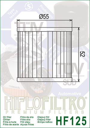 HF125 Hi-Flo Oljefilter Kawasaki (16097-1002)