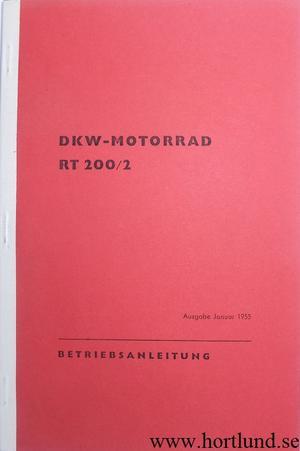 1955 DKW RT 200/2 Instruktionsbok