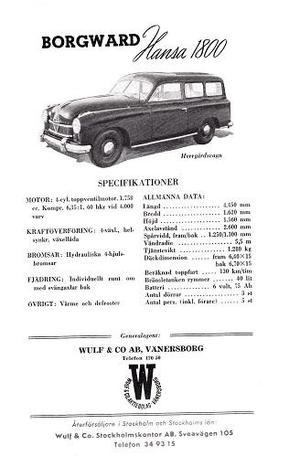 1954 Borgward Hansa 1800 Herrgårdsvagn broschyr svensk