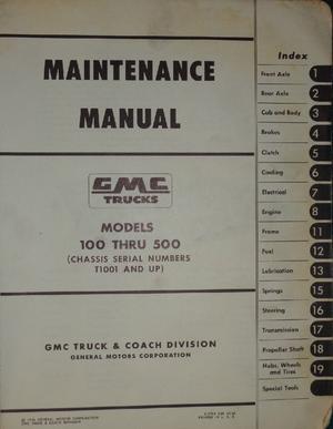 1957 - 1959 GMC 100-500 Truck Maintenance Manual