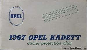 1967 Opel Kadett Owner Protection Plan
