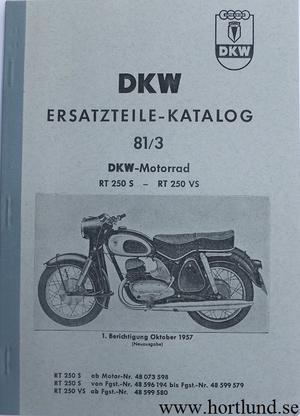 1957 DKW RT 175 S, RT 175 VS, RT 200 S, RT 200 VS Reservdelskatalog