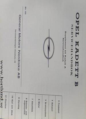 1967 Opel Kadett B Servicehandbok