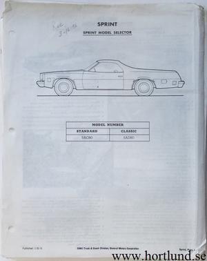1976 GMC Dealer information Sprint, Pickup, Jimmy, Suburban, Van