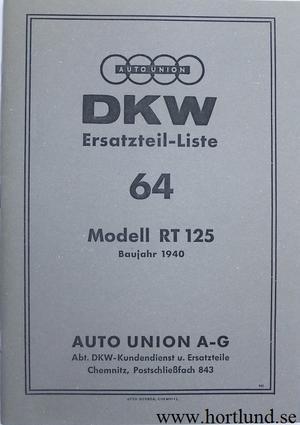 1940 DKW RT 125 Reservdelskatalog