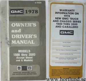 1978 GMC 1500-3500 Truck Owner's Manual