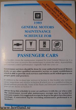 1989 GM Maintenance Schedule alla modeller
